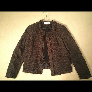 Tahari Brown Animal Print Jacket